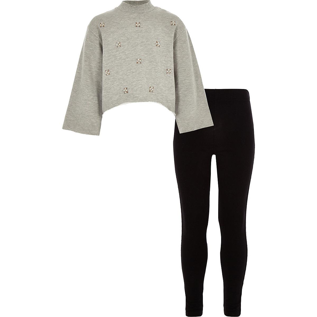 Girls grey embellished sweatshirt outfit