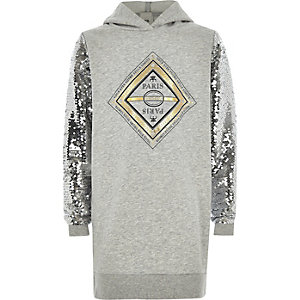 Girls grey print sequin sleeve hoodie dress