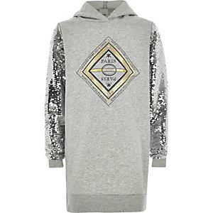 Grijze hoodie-jurk met print en lovertjes op de mouwen voor meisjes