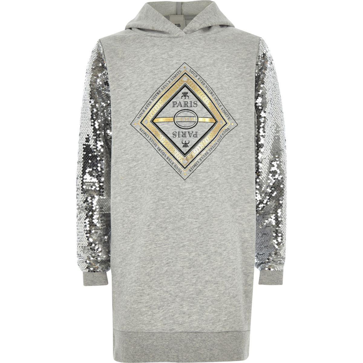 Girls grey print sequin sleeve hoodie dress