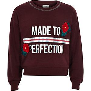 Girls burgundy 'perfection' sweatshirt