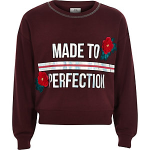 Girls burgundy 'perfection' sweatshirt