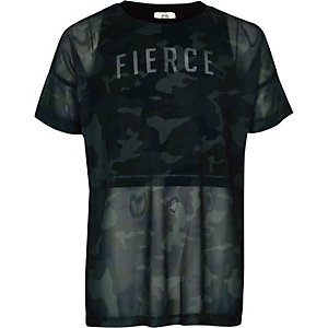Girls RI Active green camo print 2-in-1 top