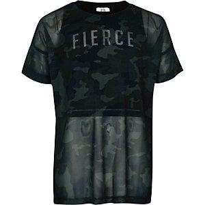 Groene 2-in-1 top met camouflageprint voor meisjes