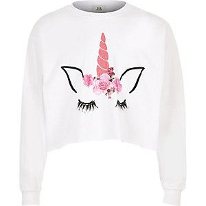 Girls white unicorn long sleeve T-shirt