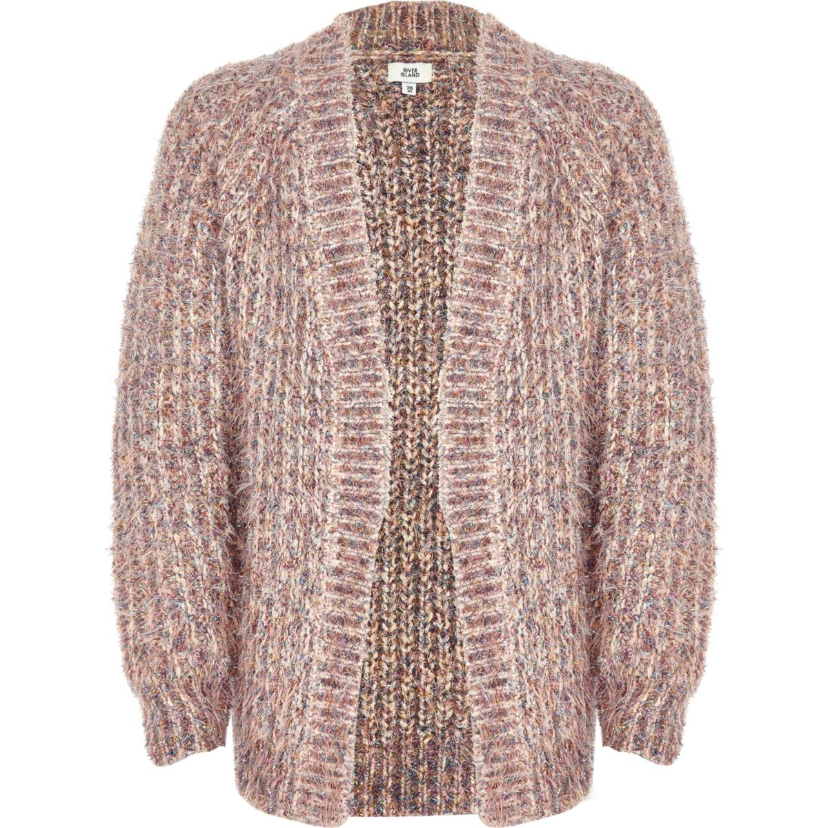 Girls pink knit tinsel cardigan