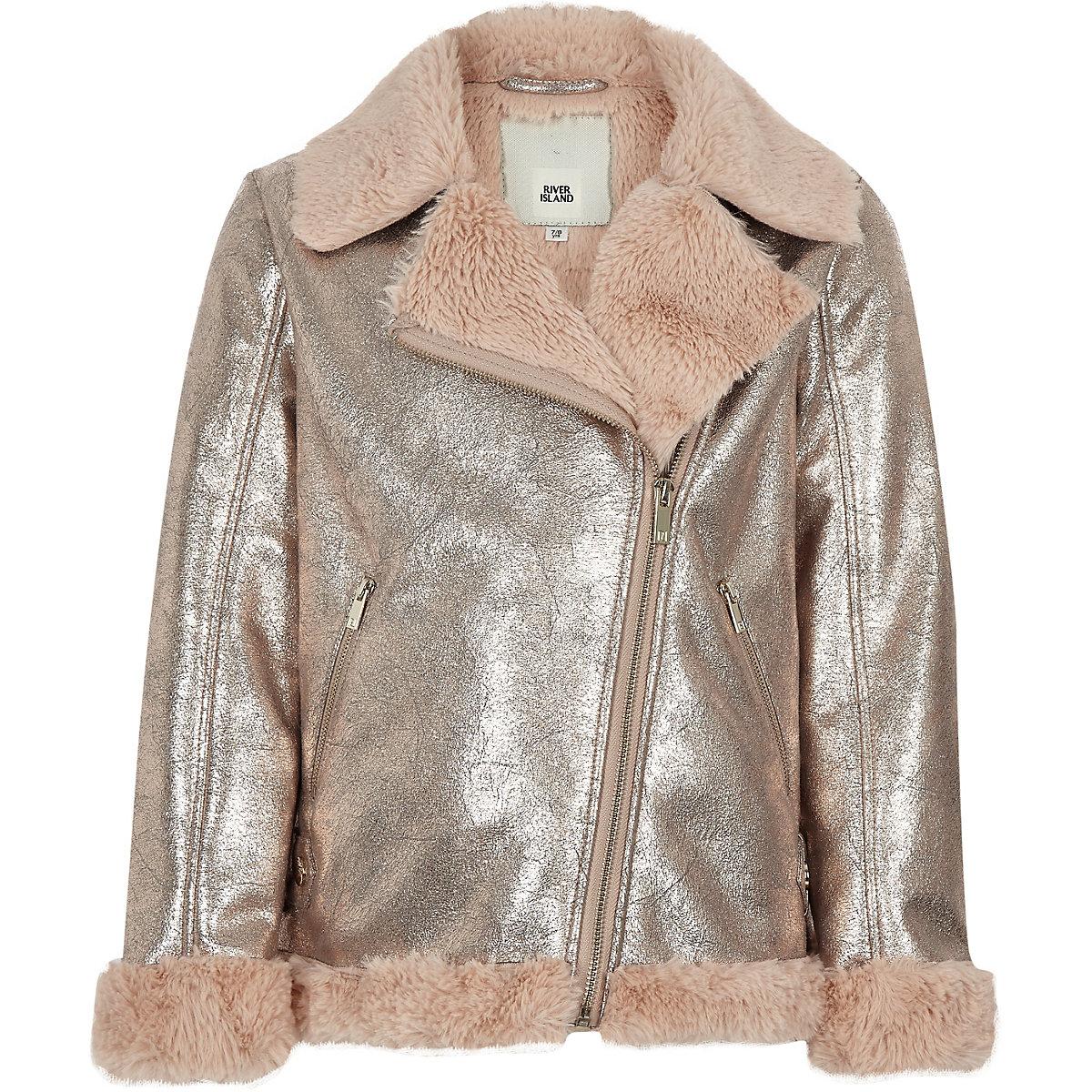 Girls gold metallic faux fur aviator jacket