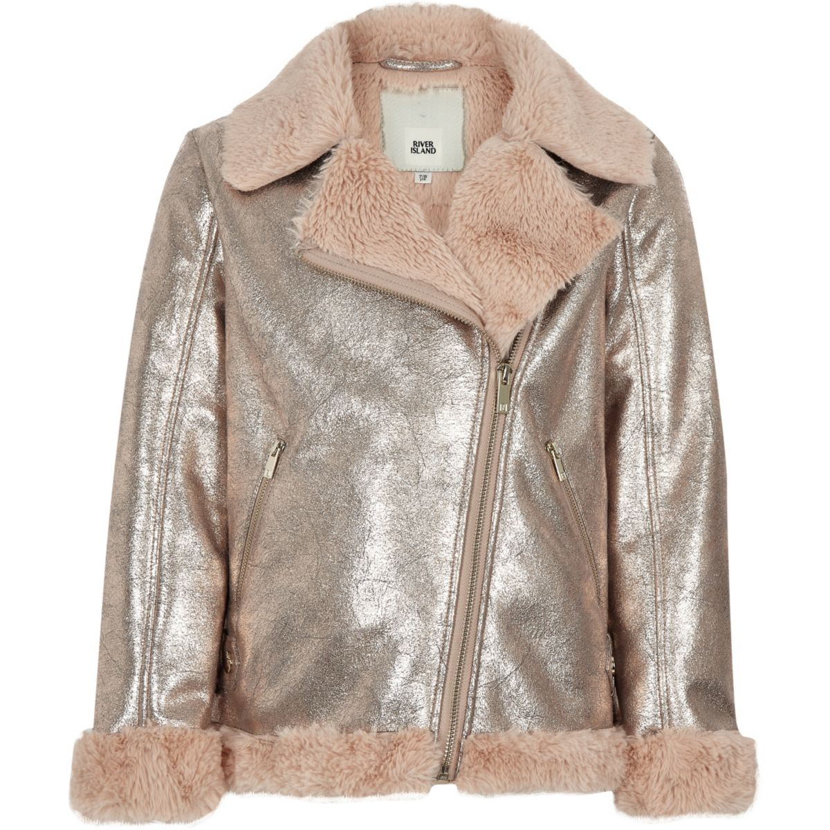 Girls gold metallic faux fur aviator jacket