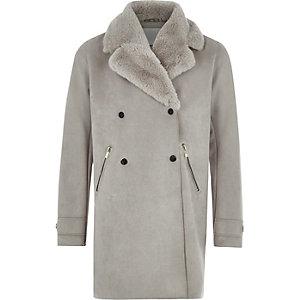 Girls grey suede faux fur collar coat