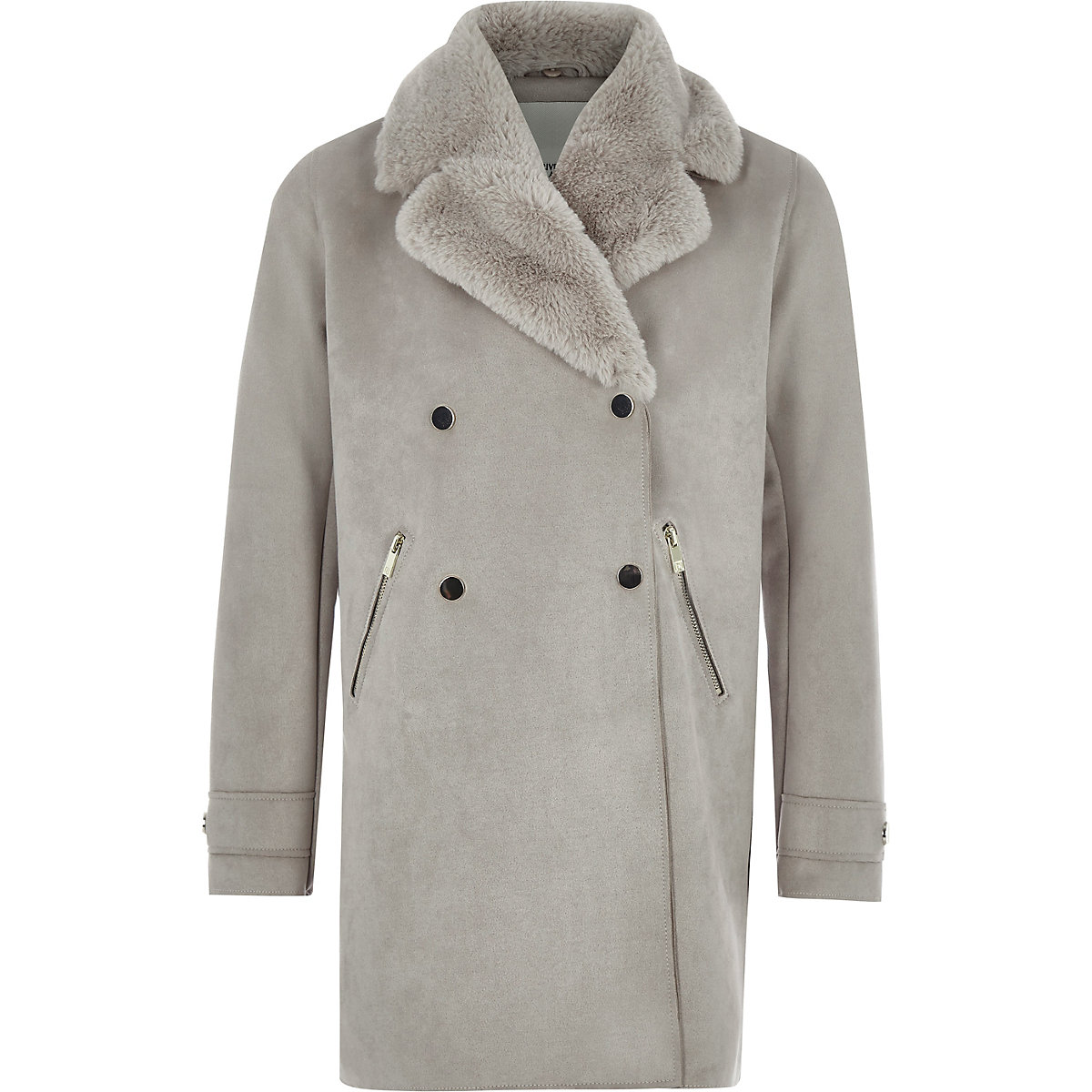 Girls grey suede faux fur collar coat