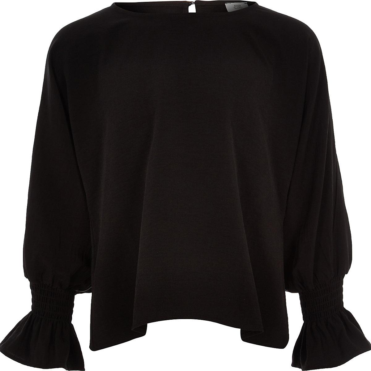 Black long split sleeve top