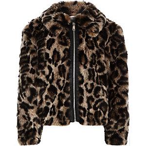 Veste en fausse fourrure imprimé léopard marron zippée pour fille