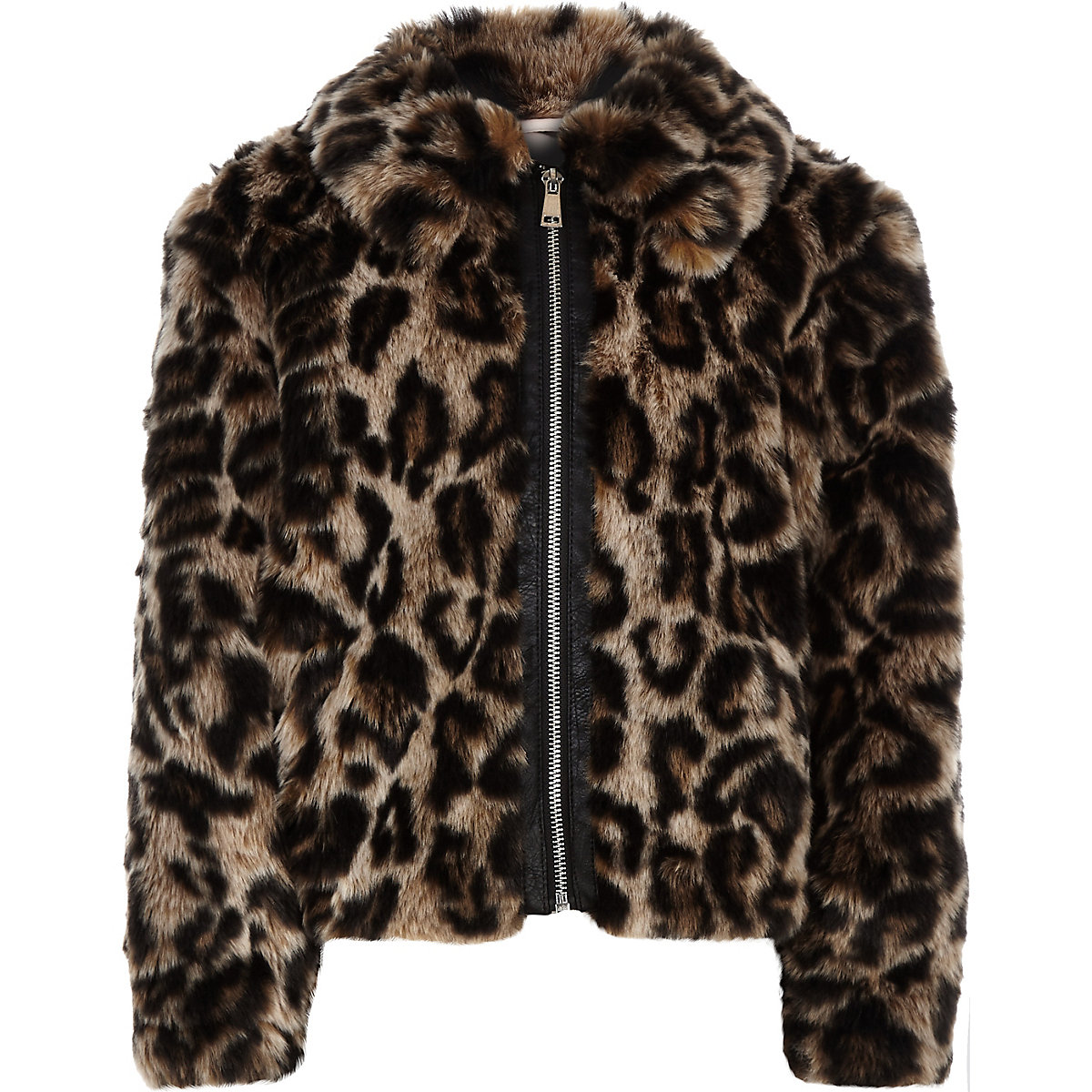 Girls brown leopard print faux fur zip jacket