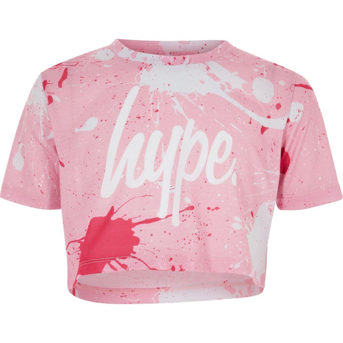 Girls Hype pink paint splat crop T-shirt