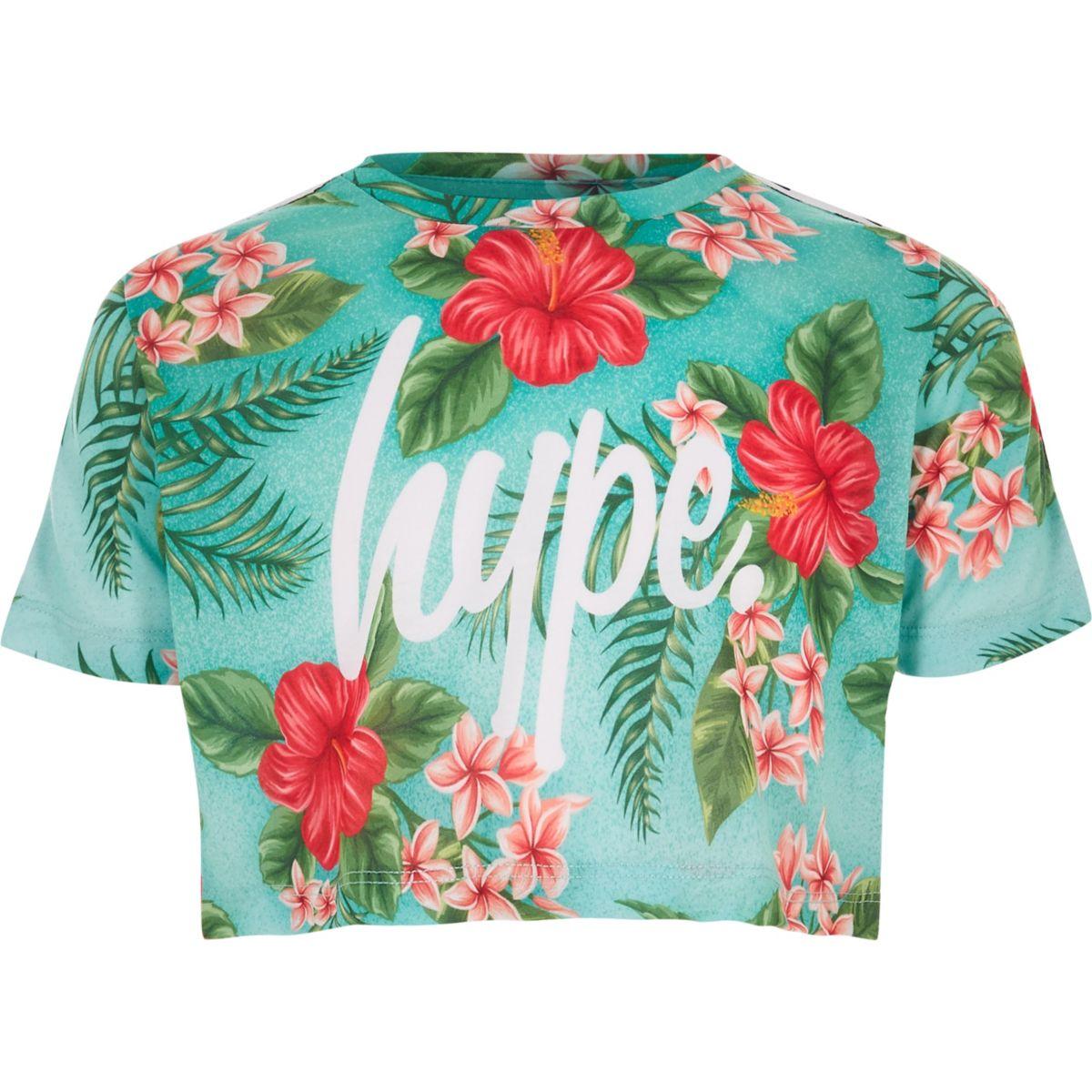 Girls Hype green tropical print crop T-shirt