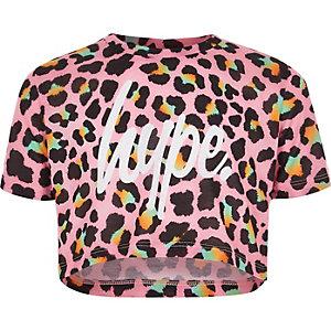 Hype – T-shirt court imprimé léopard rose pour fille