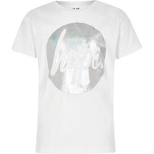 Hype - Wit T-shirt met cirkel van folieprint voor meisjes