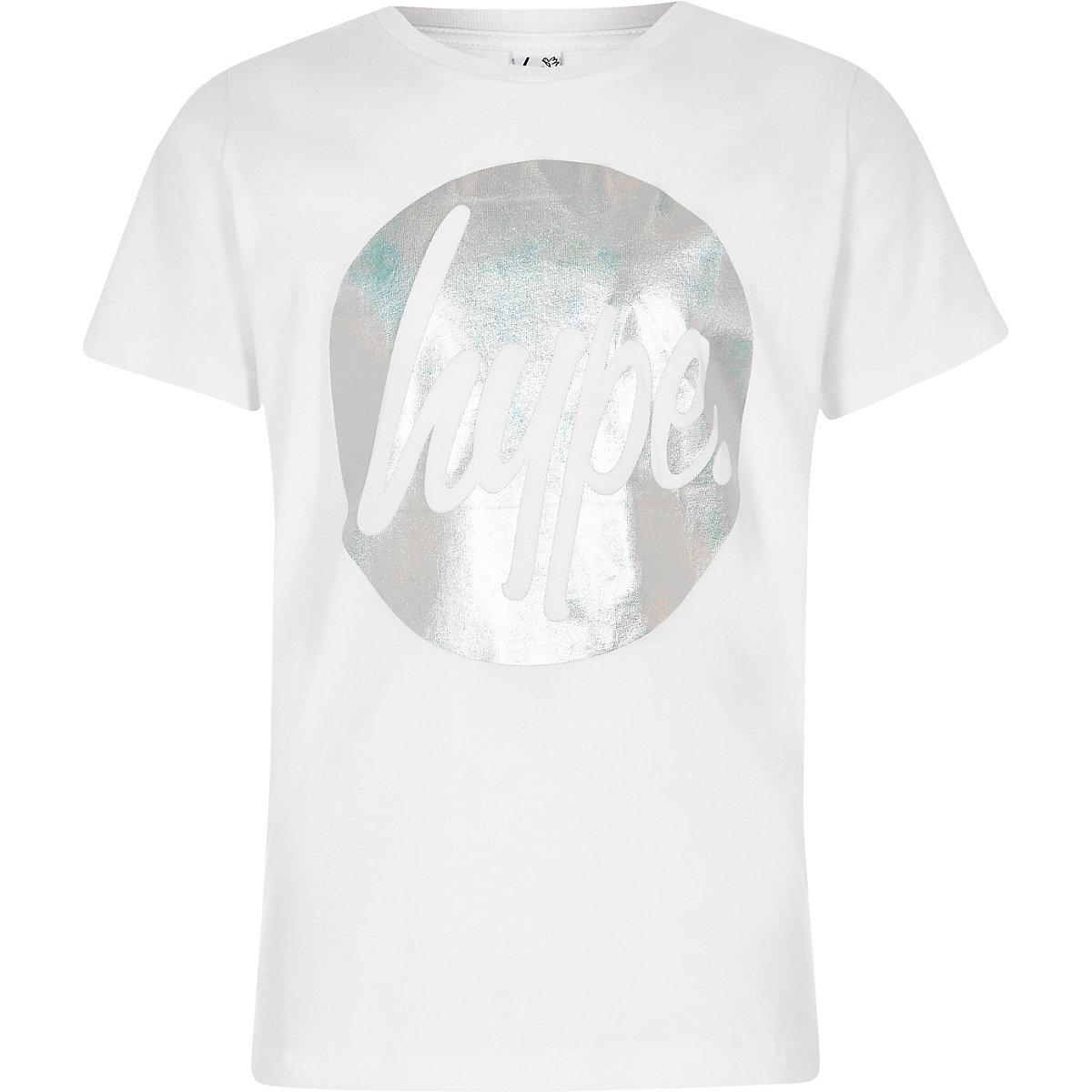 Girls Hype white circle foil print T-shirt