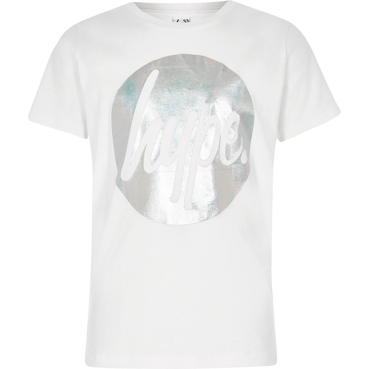 Girls Hype white circle foil print T-shirt