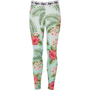 Girls Hype green tropical print leggings
