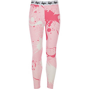 Girls Hype pink paint splat leggings