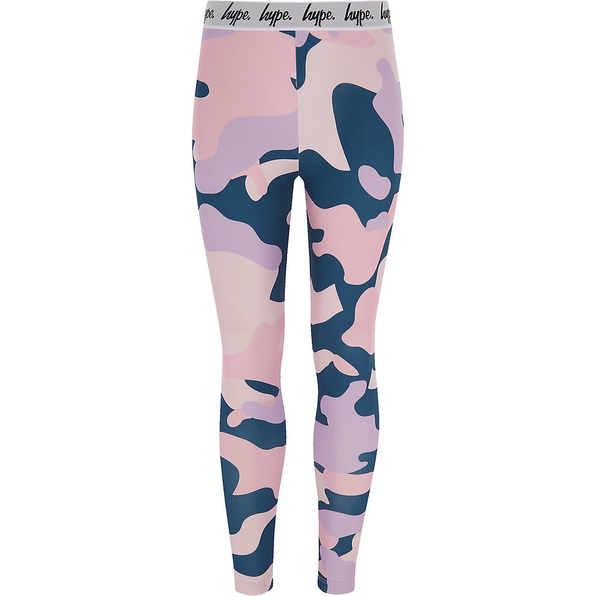 Girls Hype pink camo print leggings