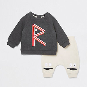 Ensemble jogging imprimé «R» beige pour bébé
