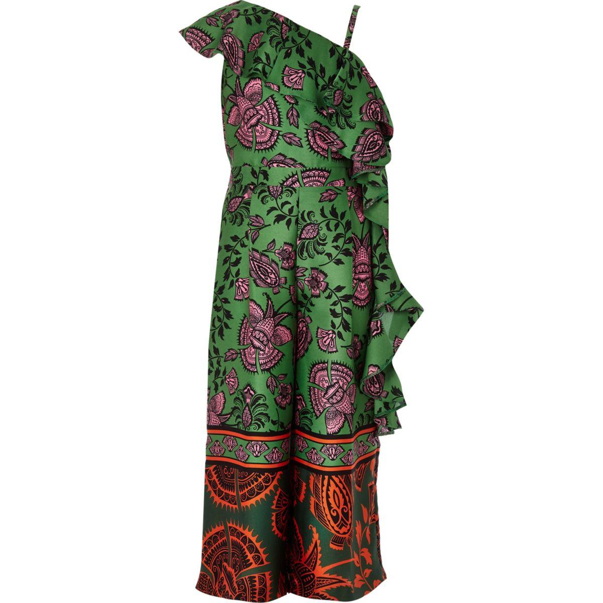 Girls green floral asymmetric frill jumpsuit