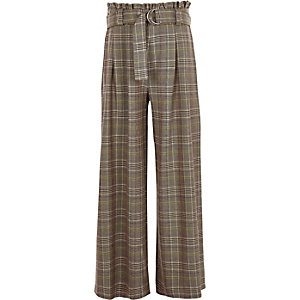 Girls brown check paperbag wide leg trousers