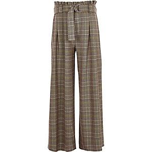 Bruine geruite geplooide broek met wijde pijpen voor meisjes