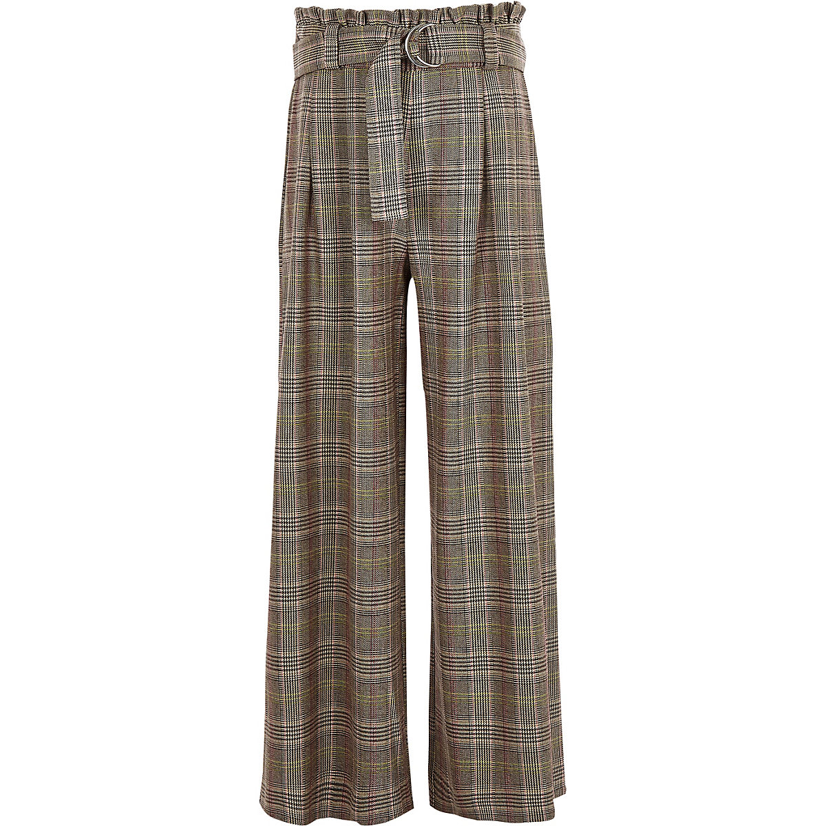 Girls brown check paperbag wide leg pants