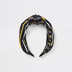 Zwarte hoofdband met sjaalprint voor meisjes
