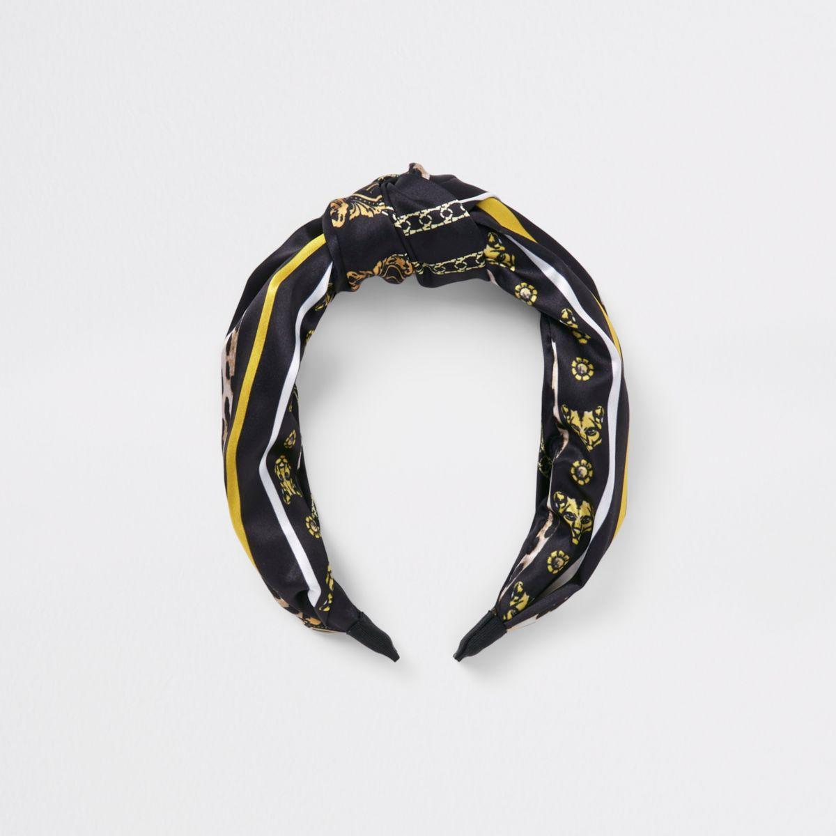 Girls black scarf print headband