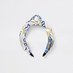 Blauwe hoofdband met sjaalprint voor meisjes