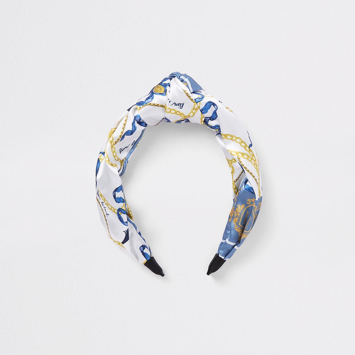 Girls blue scart print hea