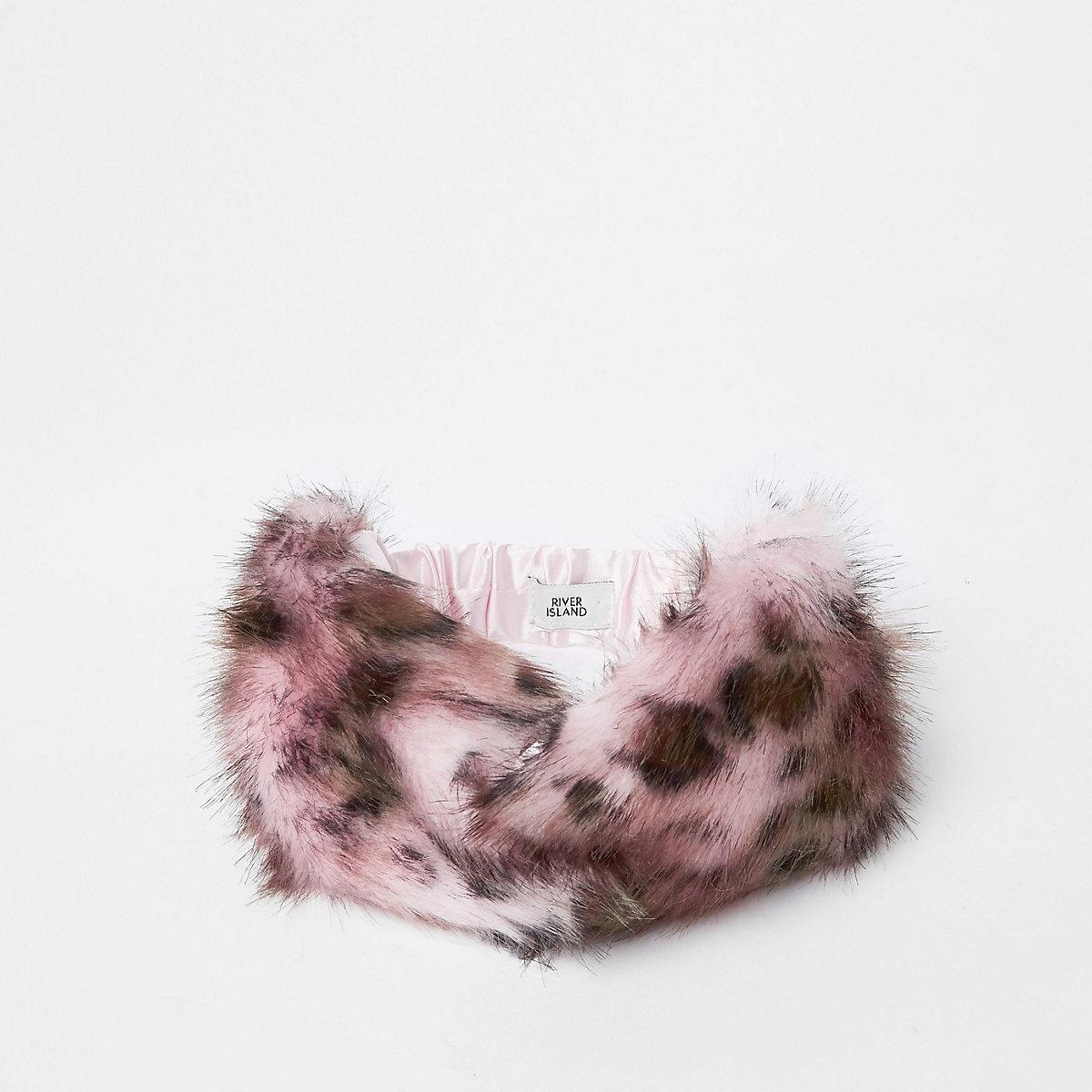 Girls pink leopard faux fur twist headband