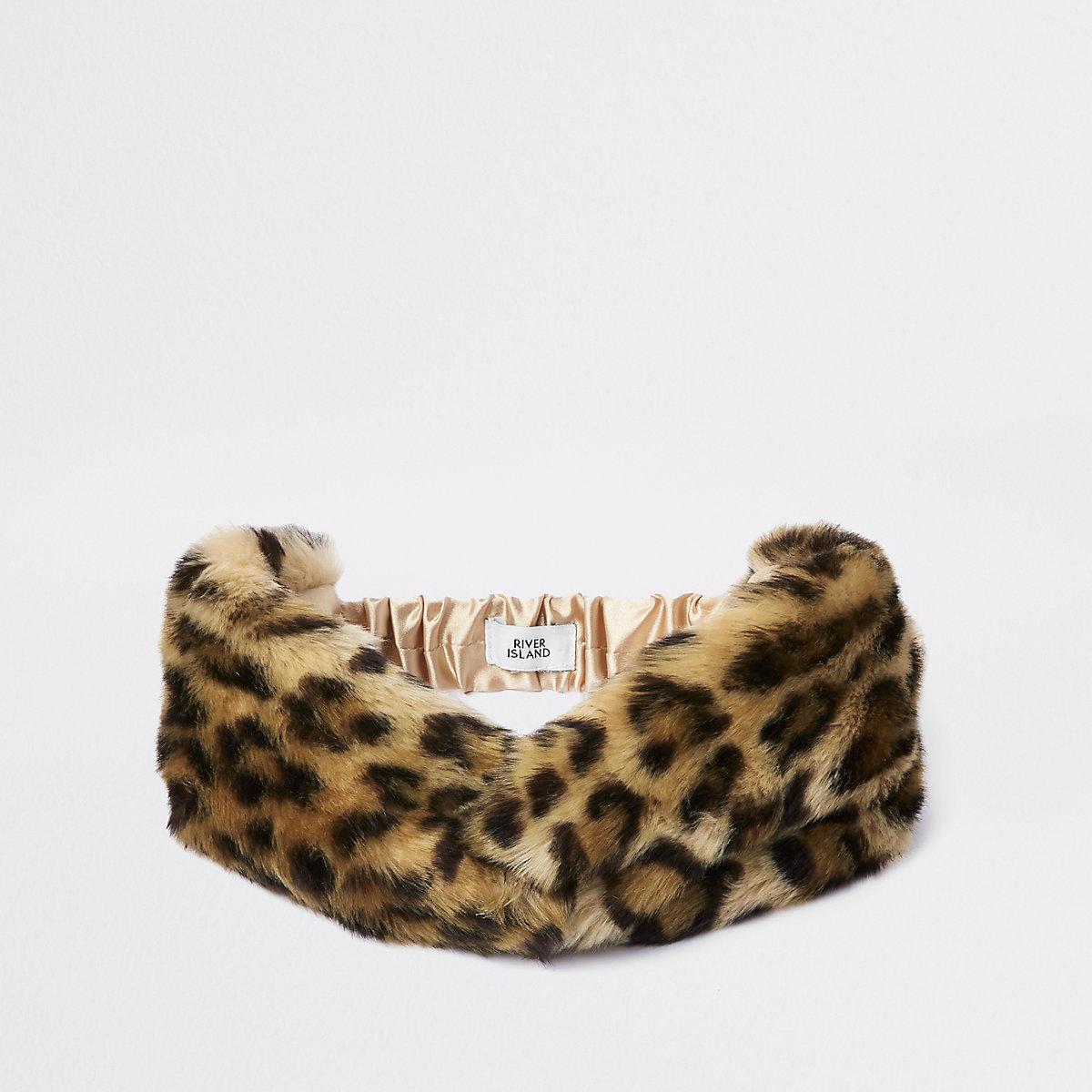 Girls brown leopard print faux fur headband