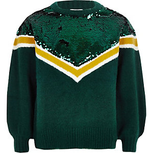 Girls green chevron sequin knit sweater