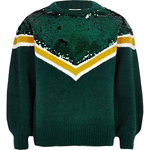 Groene gebreide pullover met pailletten en zigzagmotief voor meisjes