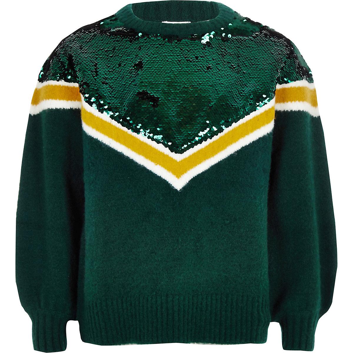 Girls green chevron sequin knit jumper