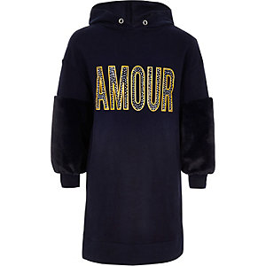 Girls navy 'amour' hoodie dress