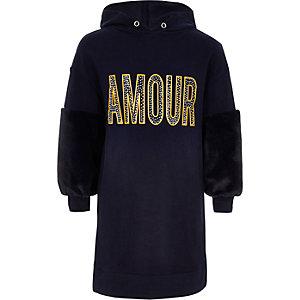 Girls navy 'amour' hoodie dress