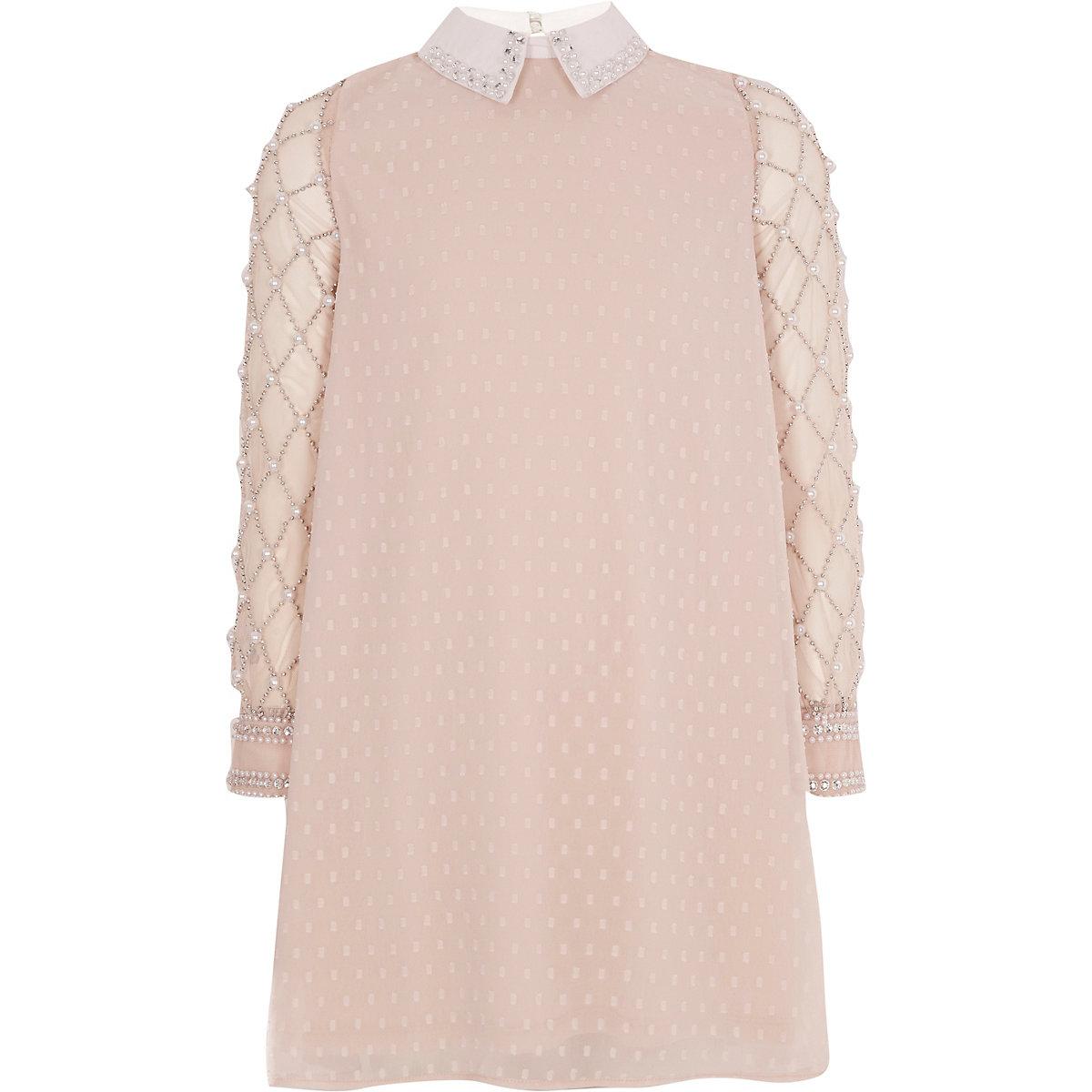 Girls light pink pearl embellished dress