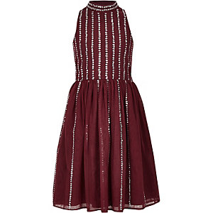 Girls dark red sequin embellished prom dress