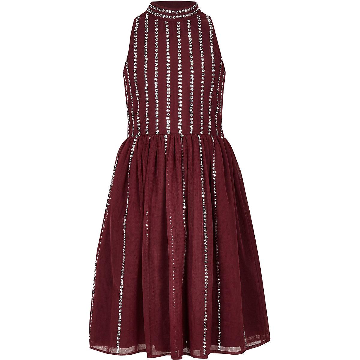Girls dark red sequin embellished prom dress