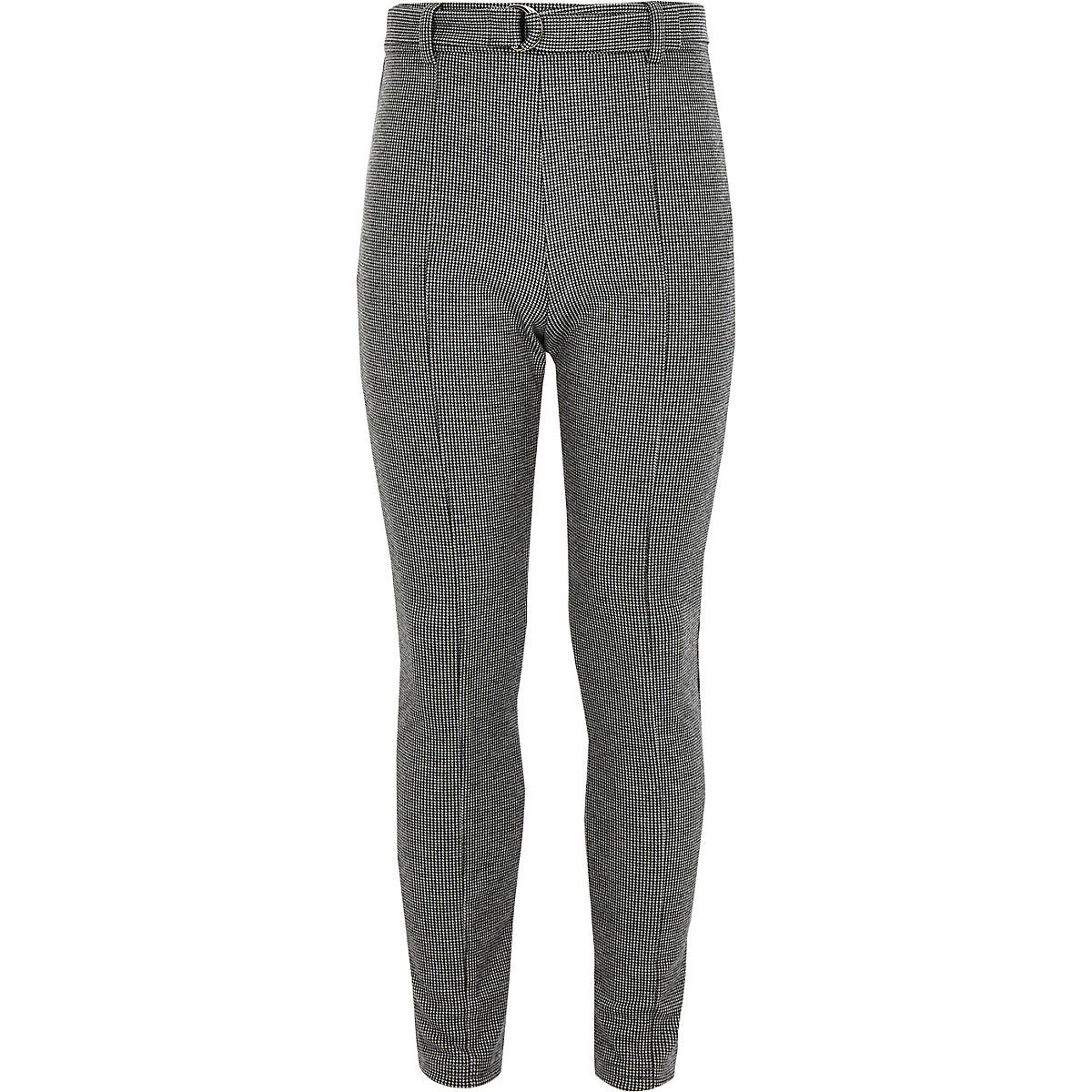 Girls grey check belted leggings