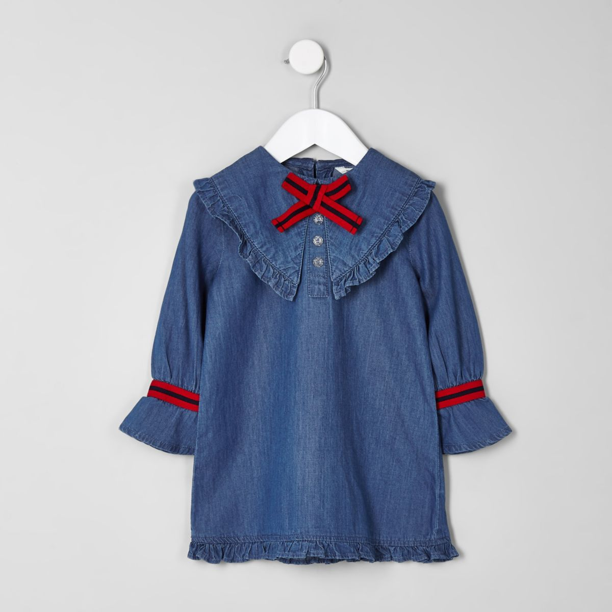 Mini girls blue denim bow shift dress