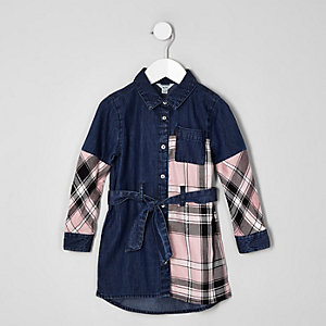 Mini girls pink check denim shirt dress