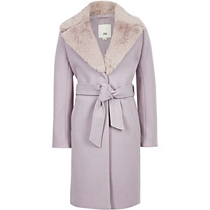 Girls lilac belted faux fur belted coat
