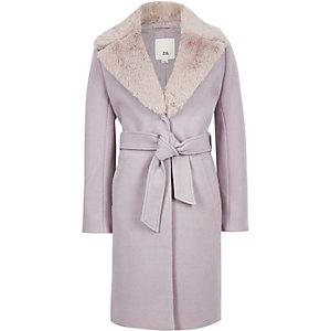 Manteau en fausse fourrure lilas ceinturé pour fille